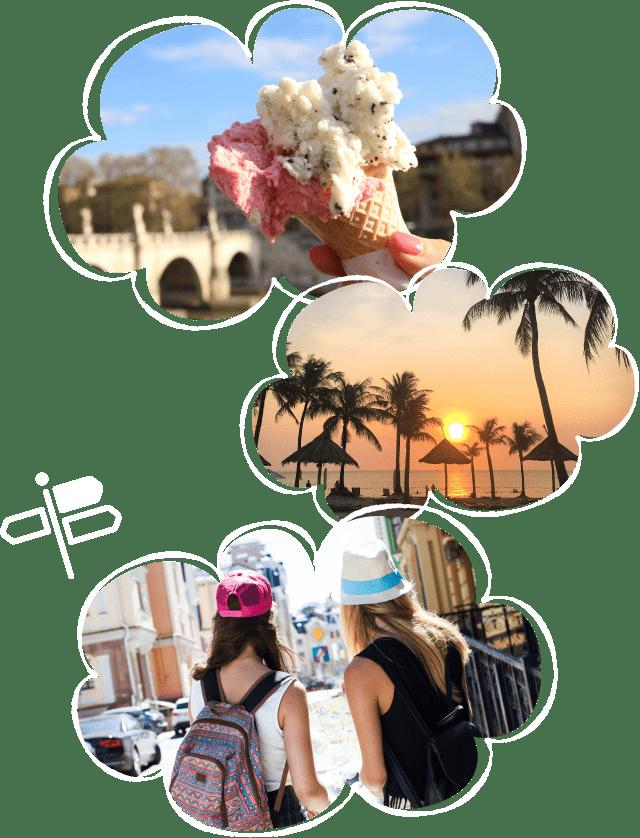 楽しい海外旅行のイメージ画像3つ(ジェラート、海岸のサンセット、外国人の女の子)
