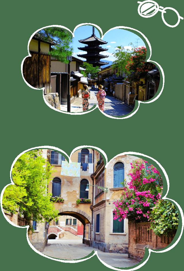 楽しい海外旅行のイメージ画像2つ(京都、ヨーロッパの街並み)
